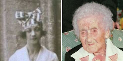 Photo of Jeanne Calment at Age 22 and 121 from Wikipedia