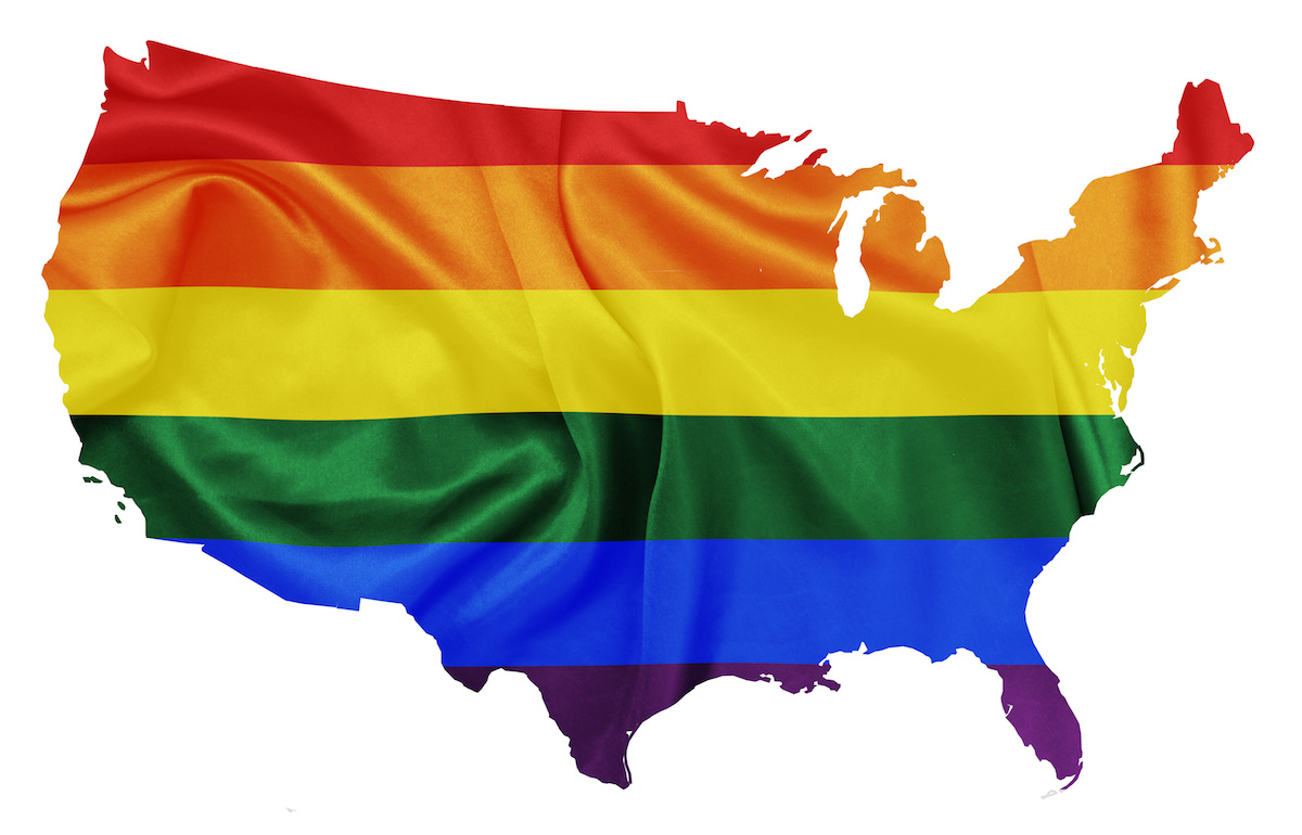 United states map with States covered with LGBT flag colors