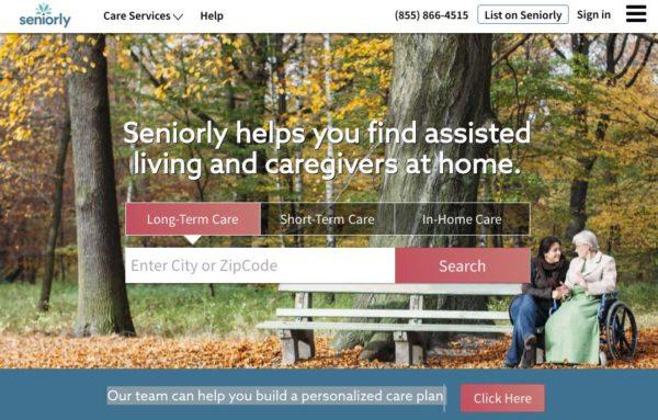 Screenshot of Seniorly Website