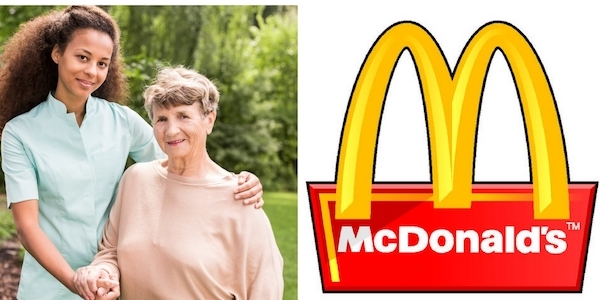 Image with home care agency caregiver and mcdonalds logo