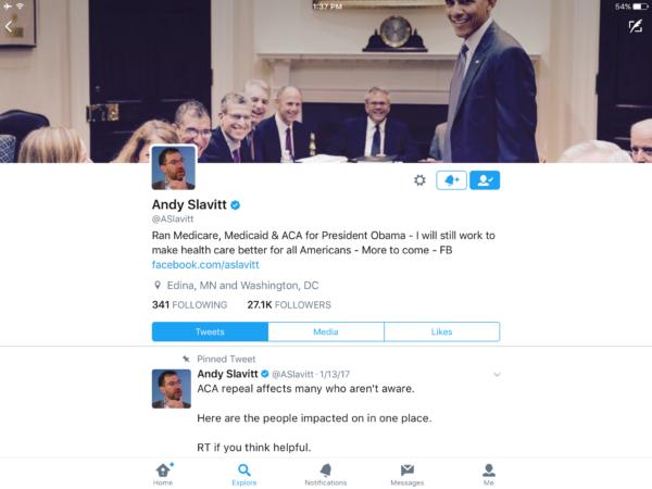 screenshot of Andy Slavitt's twitter profile