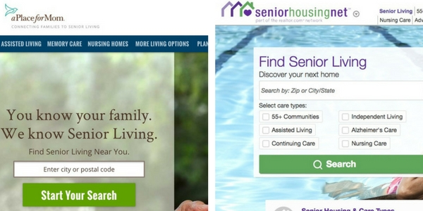 side by side screenshots of 2 senior living listing websites