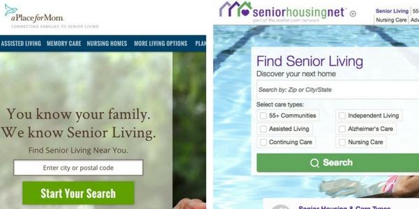 side by side screenshots of 2 senior living listing websites