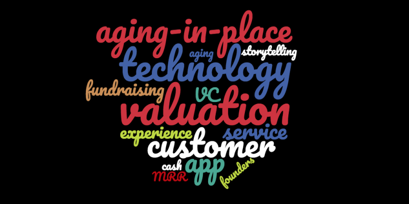 word cloud of many words relevant to tech company valuation