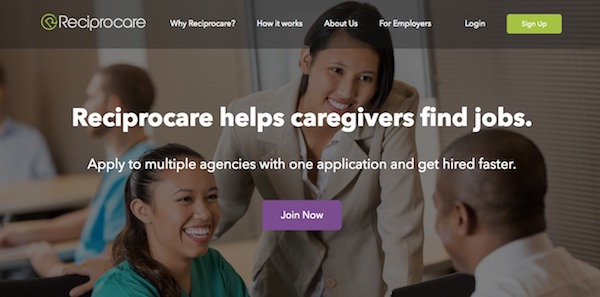 Screenshot of Reciprocare Home Page